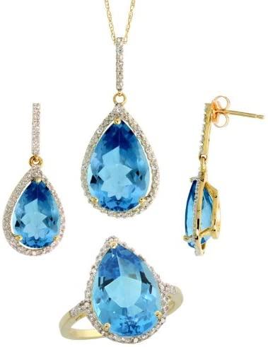 10k Gold Teardrop Dangle Earrings (26mm tall), Ring (17mm wide) & 18 in. Necklace SET, w/Brilliant Cut Diamonds & Pear Cut Blue Topaz Stones; Ring Size 5