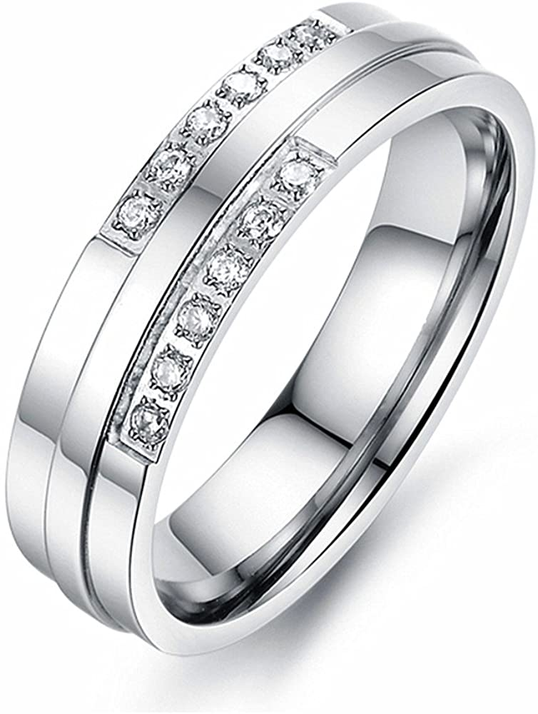 U2U Jewelry Stainless Steel 2 Tone Grooved Prong Setting Clear CZs Engagement Wedding Band Ring For Men Women