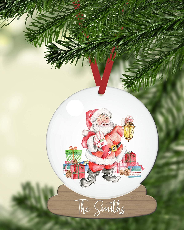 Lplpol 3 inch Circle Ceramic Ornament Decorative Ornament Personalized Santa Snow Globe Ornament Cute Santa Personalized Name Ornament Personalized Home Ornament