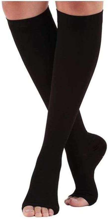 Xunlin Elastic Open Toe Knee High Stockings Calf Compression Stockings Varicose Veins Treat Shaping Graduated Pressure Stockings (Color : Black, Size : S)