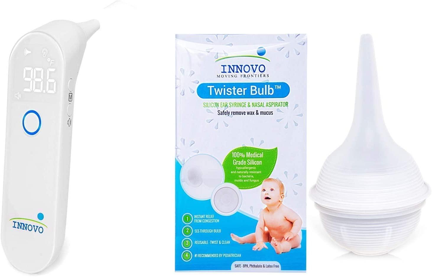 Innovo iE100A Ear Digital Thermometer and Ear Syringe, Nasal Aspirator Bundle