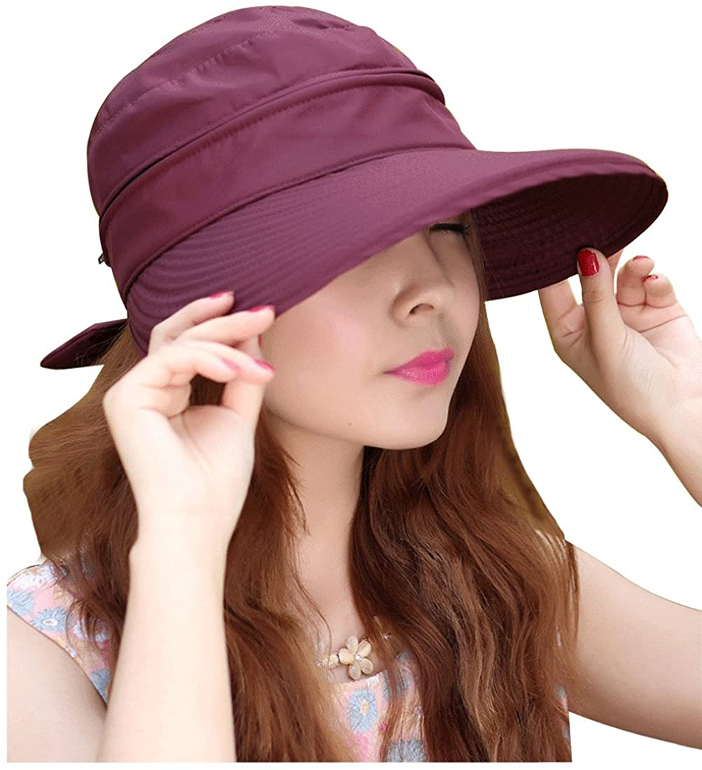 Leben LerBen Womens Casual Wide Brim 2in1 UV Traveler Summer Golf Sun Hat