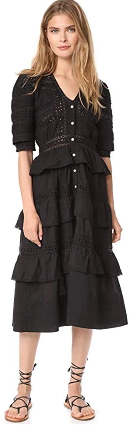 LOVESHACKFANCY Women's Black Botanic Victorian Maxi Dress Size Small