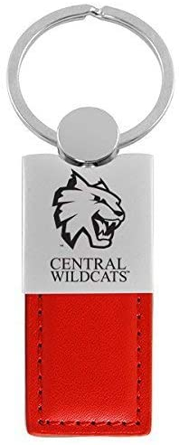 Central Washington University-Leather and Metal Keychain-Red