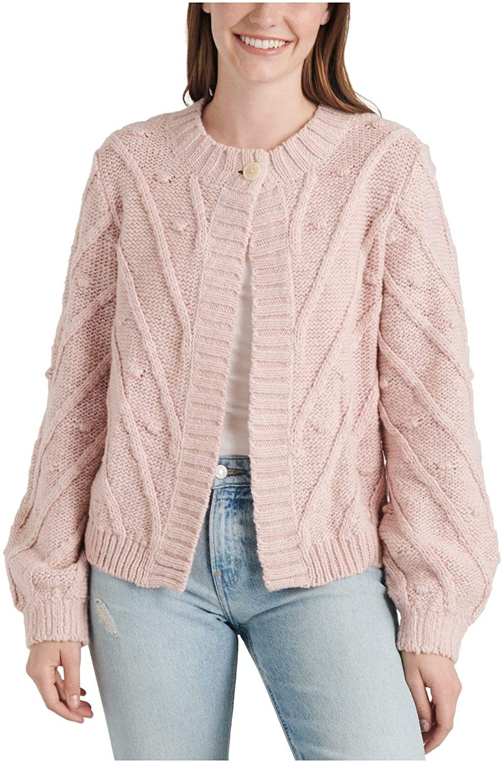 Lucky Brand Womens Pink Long Sleeve Open Cardigan Tunic Top Size S