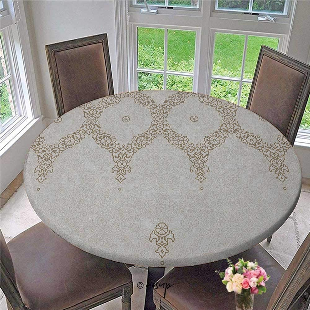 Elasticized Table Cover Ornate Background with Traditional Soft Colored Eastern Elements and Pattern Elastic Edged Fitted Table Cover Cute Sturdy and Easy to Clean Cream Beige Diameter - 55 Inch