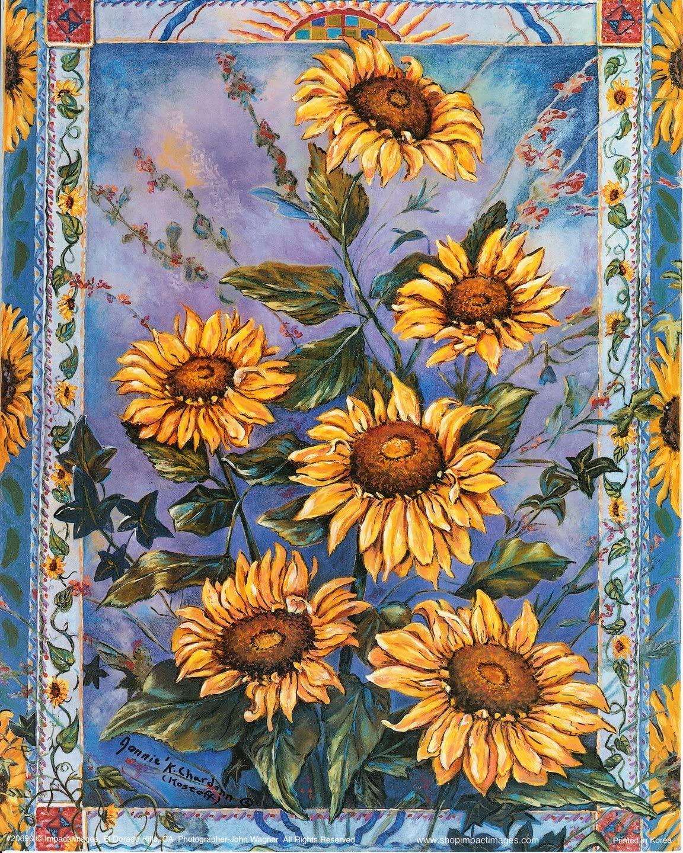 Country Sunflower Floral Flower Wall Decor Art Print Poster (16x20)