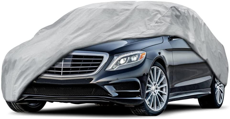 BDK Sedan Car Cover - Universal Fit, Non Woven, Grey W/Secure Lock (Fits up to 170