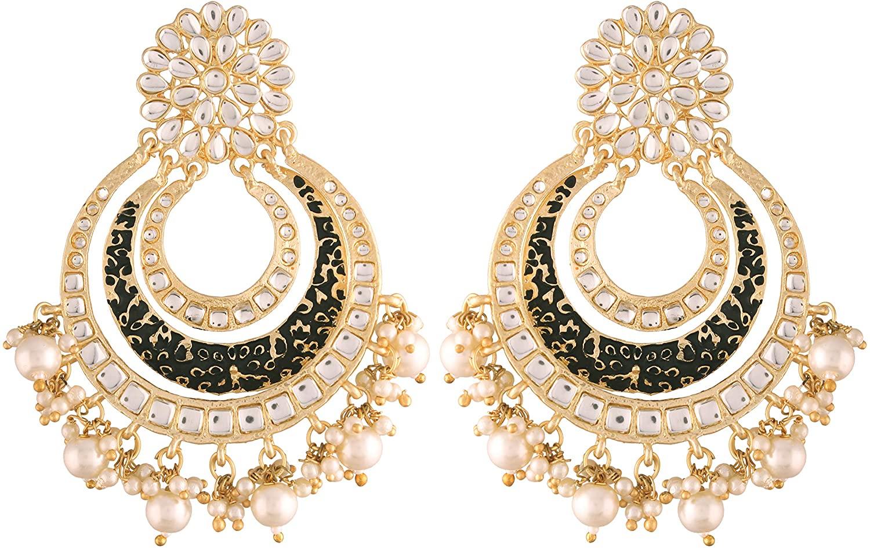 I Jewels 18k High Gold Matt Finish Plated Big Chandbali Handmade Black Enamel/Meenakari Kundan & Pearl Earrings for Women (E2860B)