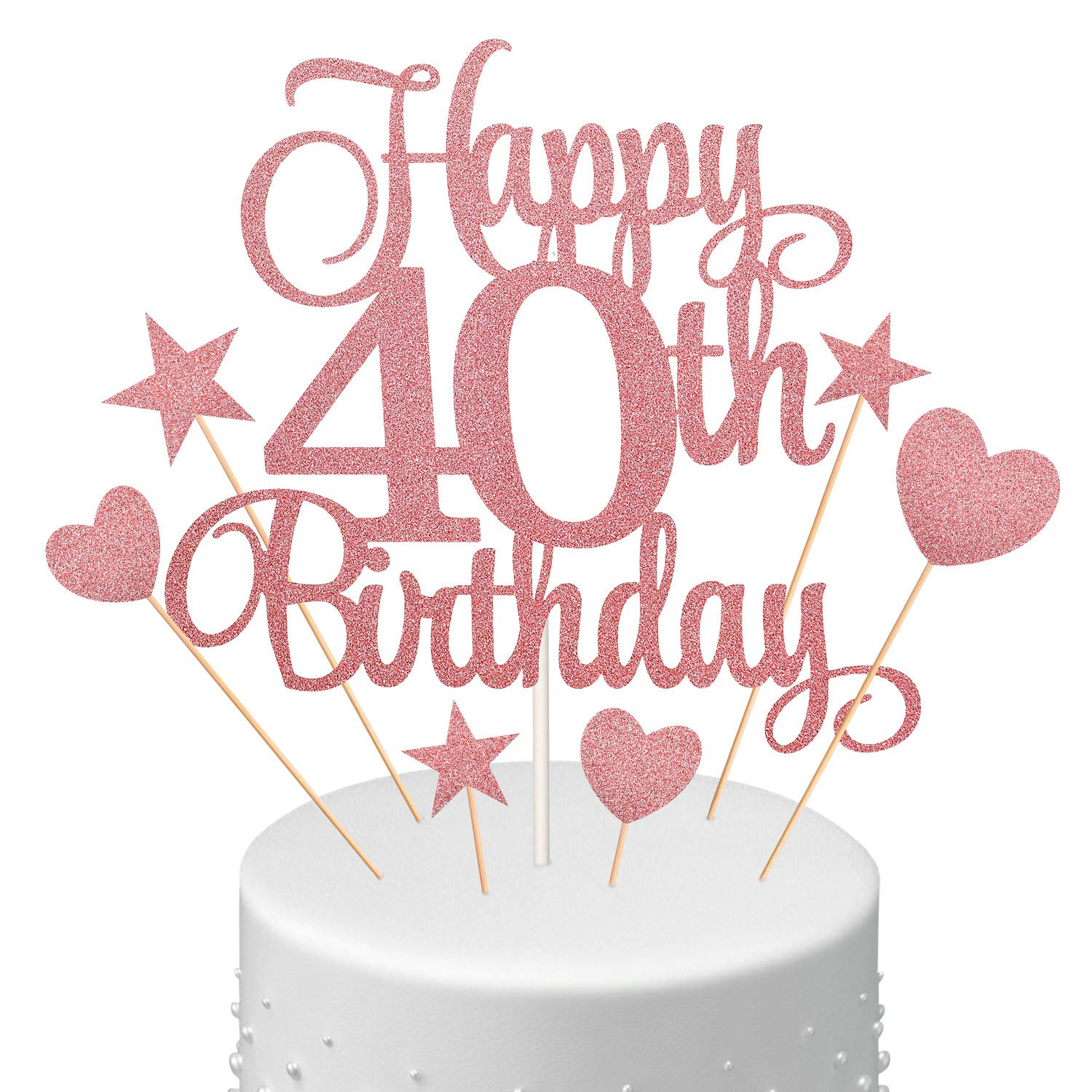 40th Birthday Cake Topper Set, Happy 40th Birthday Cake Topper with Heart Star Cupcake Cake Topper Picks Glitter Cake Decoration for Birthday Party Cake Supplies, Rose Gold