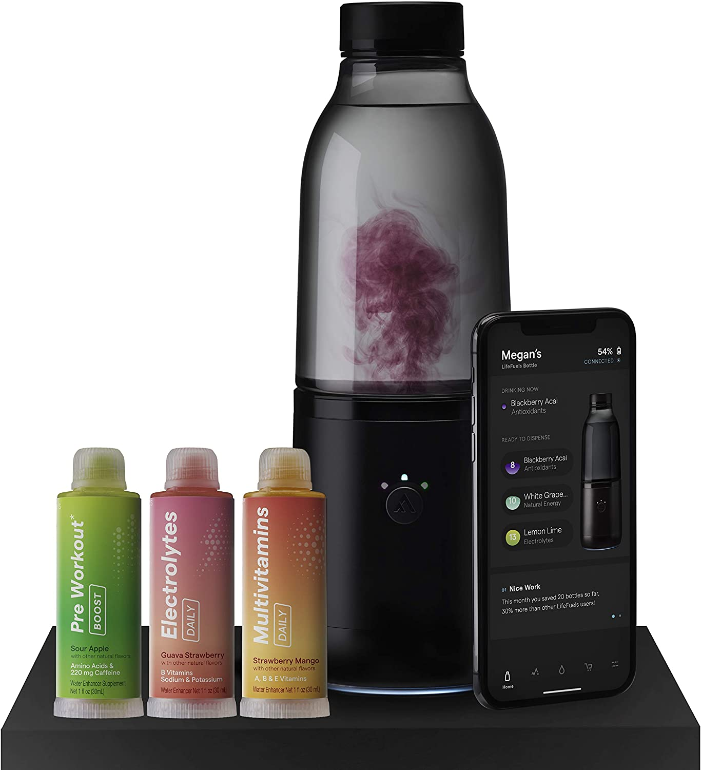 LifeFuels Smart Bottle - Water and Healthy Beverage Infuser with Tracking App - Wearable Technology for Hydration, Fitness and Nutrition Tracking - Use for Travel, Sports and More