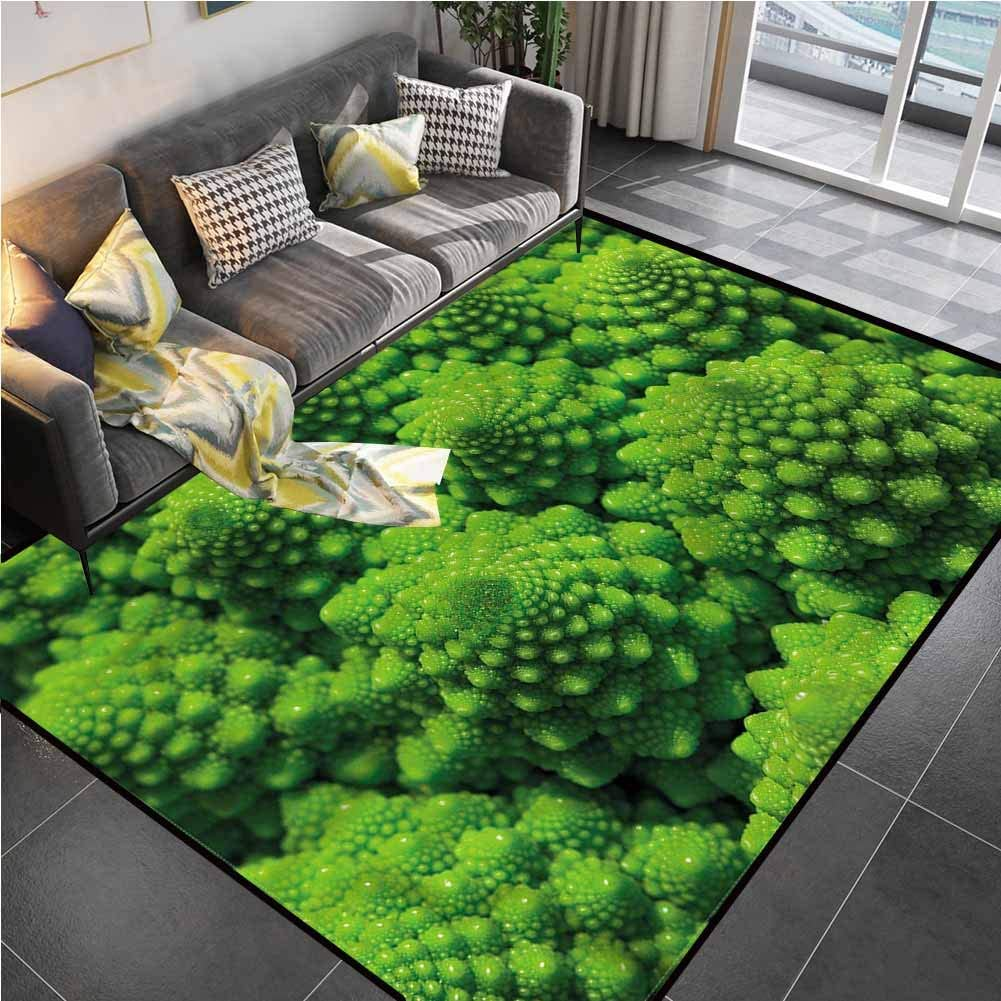Area Rugs Print Large Carpet Nature,Broccoli Kale Foliage Chair mat Carpet for Living Room Bedroom Playing Room 5'x8'