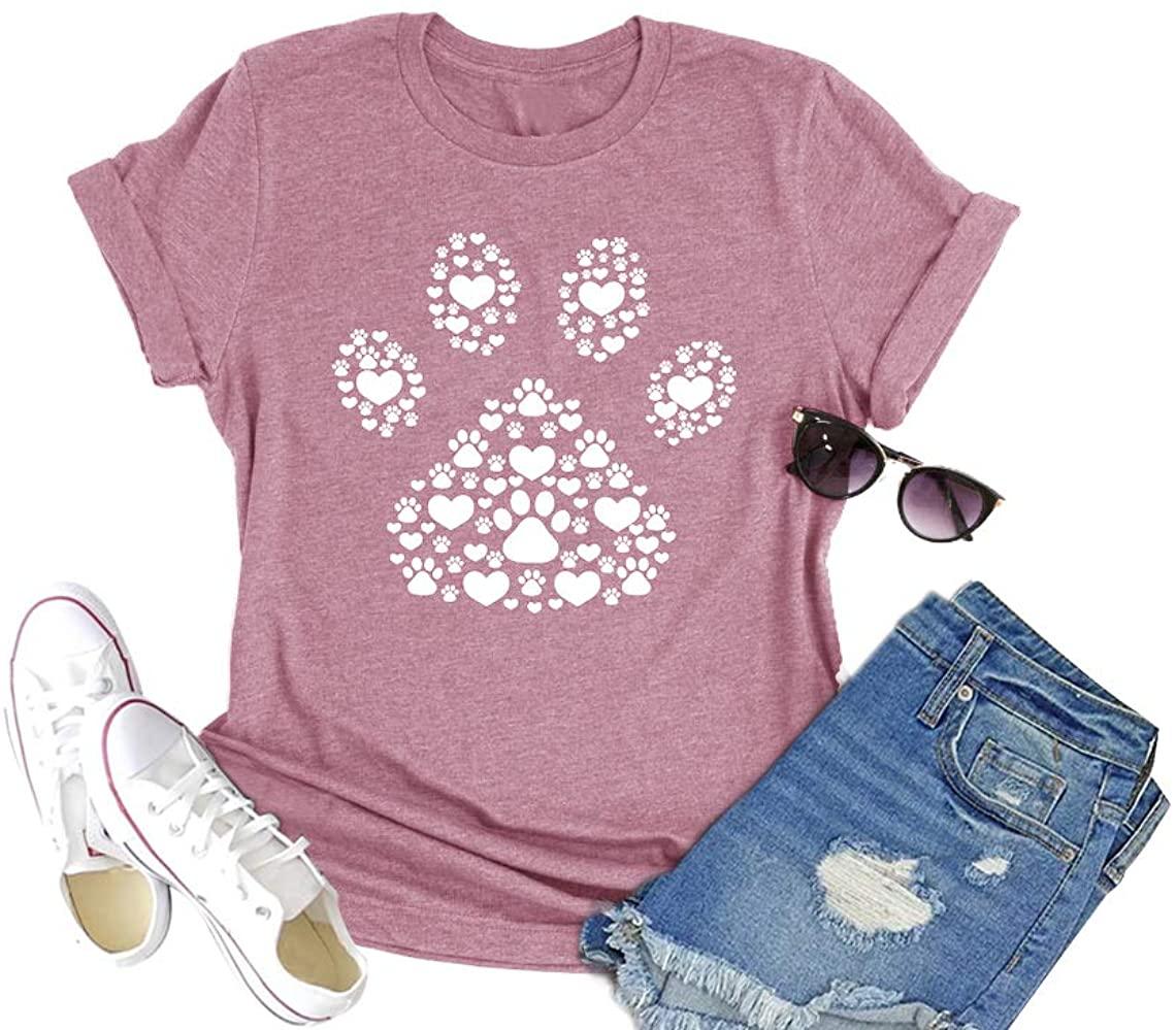 HDLTE Dog Lover Shirt Women Cute Dog Paw Graphic Tee Short Sleeve Crewneck Causal Tops