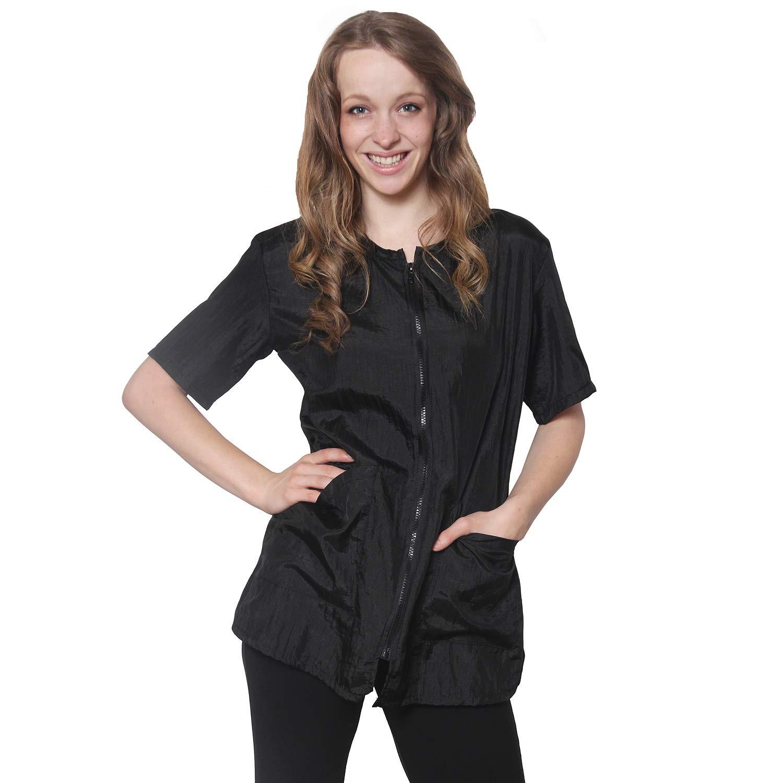 Mane Caper Salon Jacket Black 2 pockets zipper (x-small, Black)