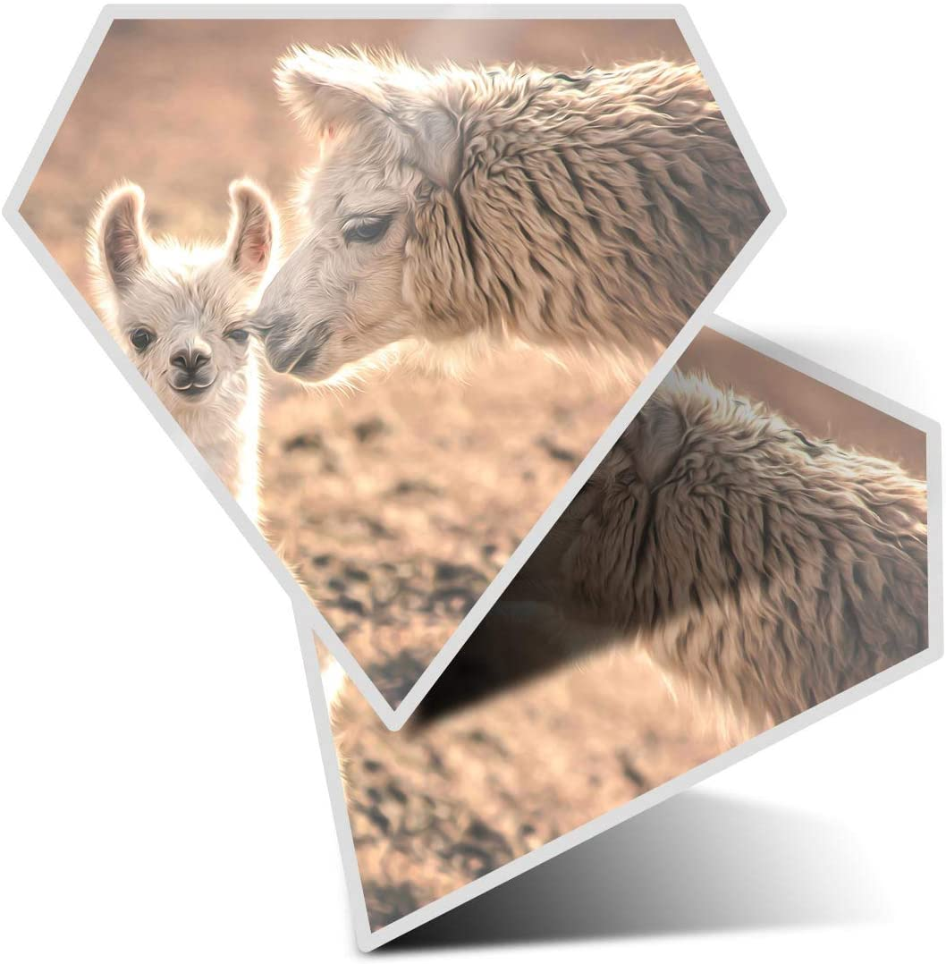Awesome 2 x Diamond Stickers 7.5 cm - Cute Llama Alpaca Mum Baby Fun Decals for Laptops,Tablets,Luggage,Scrap Booking,Fridges,Cool Gift #12989