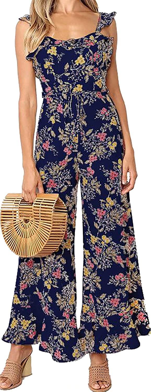Women's Floral Print Backless Romper Elegant Wide Leg Pants Ruffle Vintage Party Beach Sleeveless Long Jumpsuit Playsuit