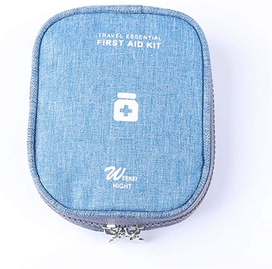 Xunlin Medicine Organizer Pill Case Splitter Bag Travel Outdoor Drug Storage First Aid Kit Portable Sack Health Care Emergency Medical (Color : Blue)