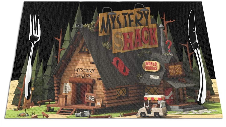 Fejarx Gravity Falls-Mystery Lodge Staff Waterproof PVC Woven Placemats Heat Resistant