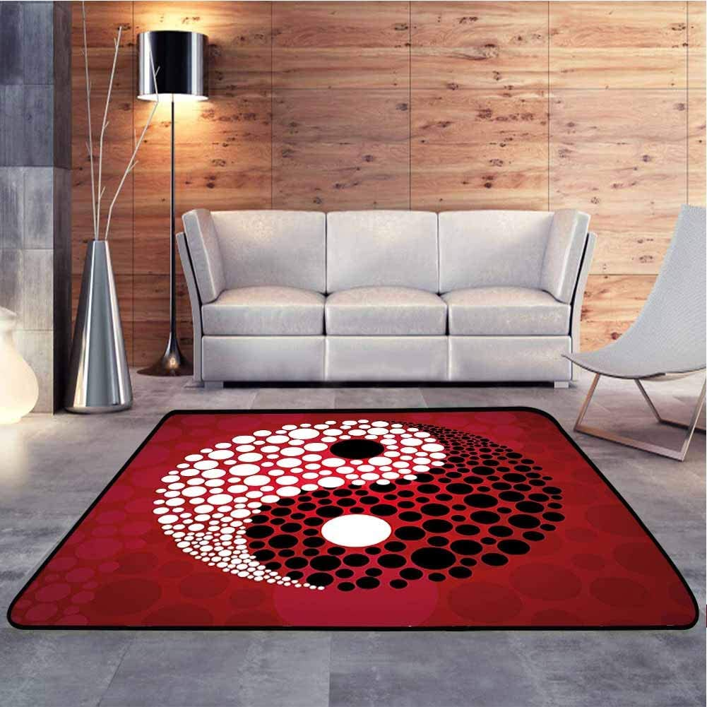 Living Room Carpets Abstract Graphic Design Yin Yang Circle Black and White Dots Pattern Cosmos Modern Geometric Area Rug Comfy Bedroom Home Decorate, 6.5 x 10 Feet