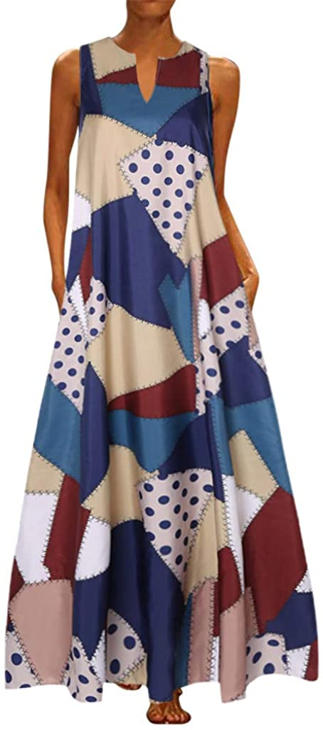KYLEON Womens Sleeveless Caftan Maxi Dress Vintage Patchwork Long Dresses Summer Casual Beach Party Kaftan Tunic Tank Dress