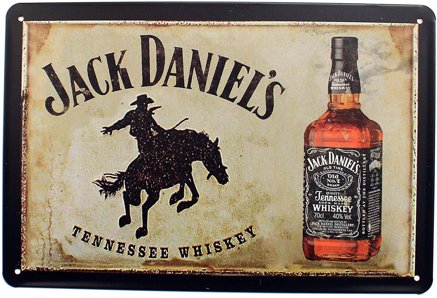 K&H Jack Daniels Whiskey Retro Metal Tin Sign Posters Café Bar Diner Pub Restaurant Wall Decor 12X8-Inch