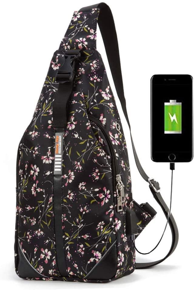 Seoky Rop Sling Bag for Men Women Shoulder Crossbody Bag with USB Charging Port for Travel Hiking Cycling, Wisteria Flower