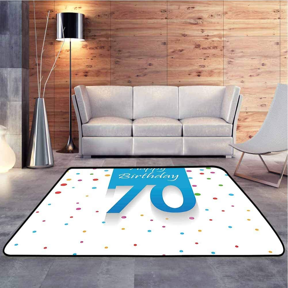 Anti-Skid Area Rug Colorful Polka Dots Backdrop and Happy Birthday 70 Years Quote Super Soft and Cozy Washable Carpet for Christmas Thanksgiving Holiday Decor, 7 x 7 Feet