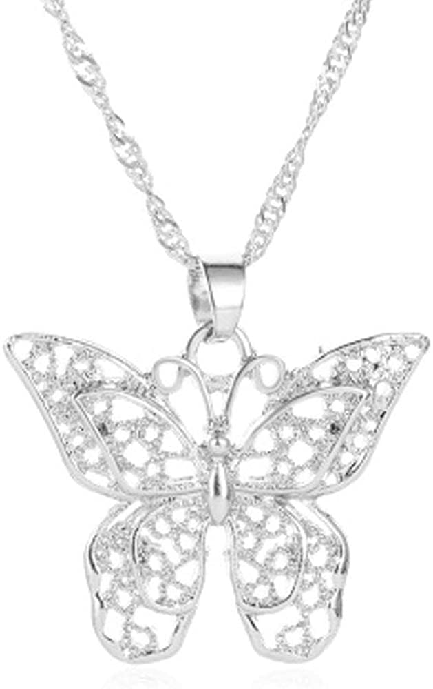 shanzuofeng New Hollow Double-Layer Metal Butterfly Pendant Butterfly Necklace