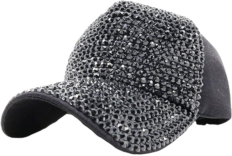 Andongnywell Women Rhinestone Baseball Cap Bling Bling Cotton Hat Hip Hop Caps Diamond Visor Sun Hats for Men Women