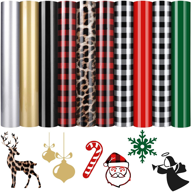 10 Sheets Christmas Buffalo Plaid HTV Buffalo Iron-on Vinyl Leopard Heat Transfer Vinyl Solid Color Transfer Vinyl Easy to Cut for T-Shirts Fabric DIY, 12 x 10 Inch