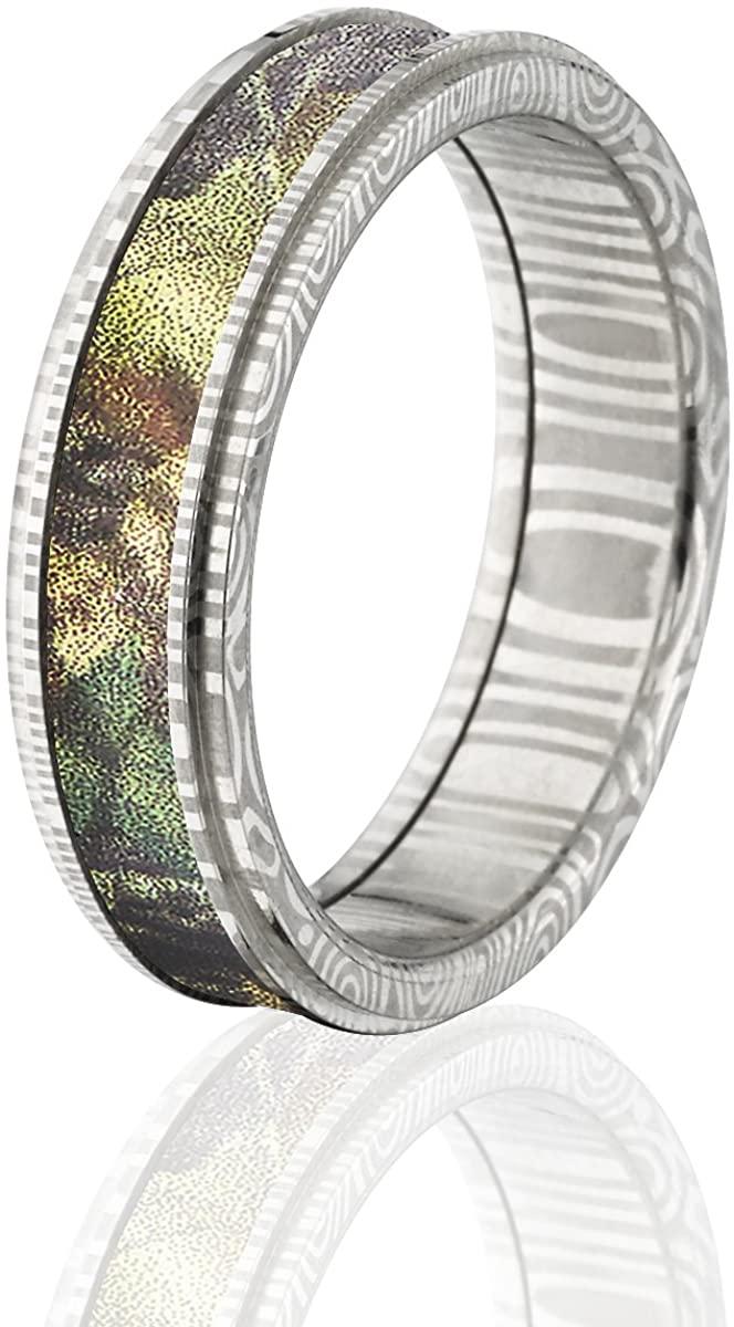 Damascus Steel Camo Rings, Camo Wedding Rings, Mossy Oak New Break Up