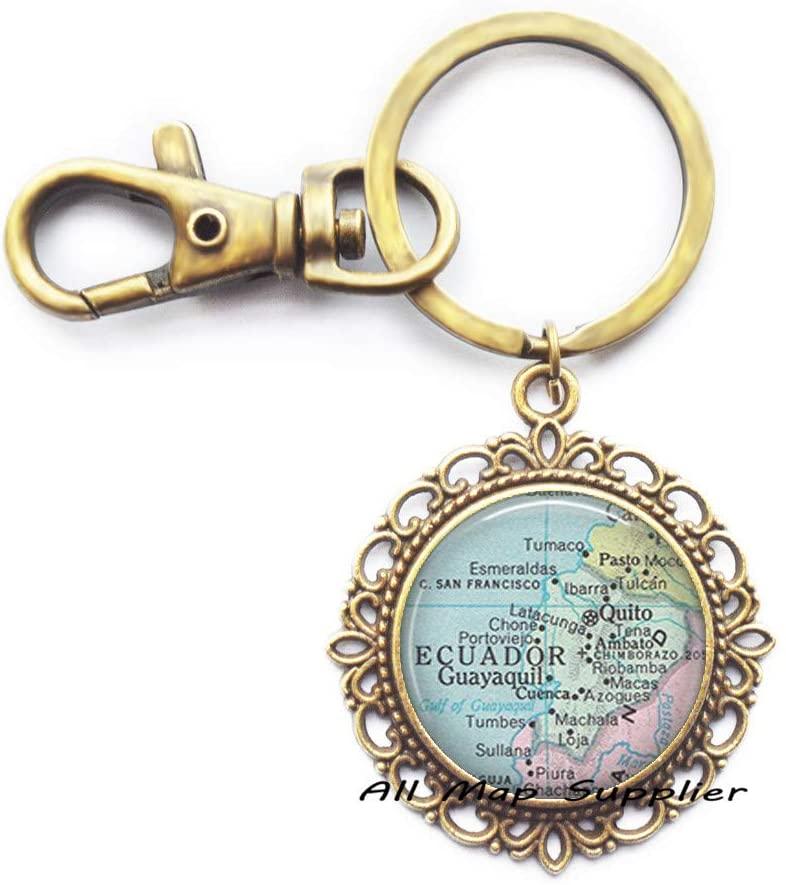 Fashion Keychain,Ecuador map Key Ring,Ecuador map Keychain Ecuador Key Ring Ecuador Keychain map jewelery,A0237