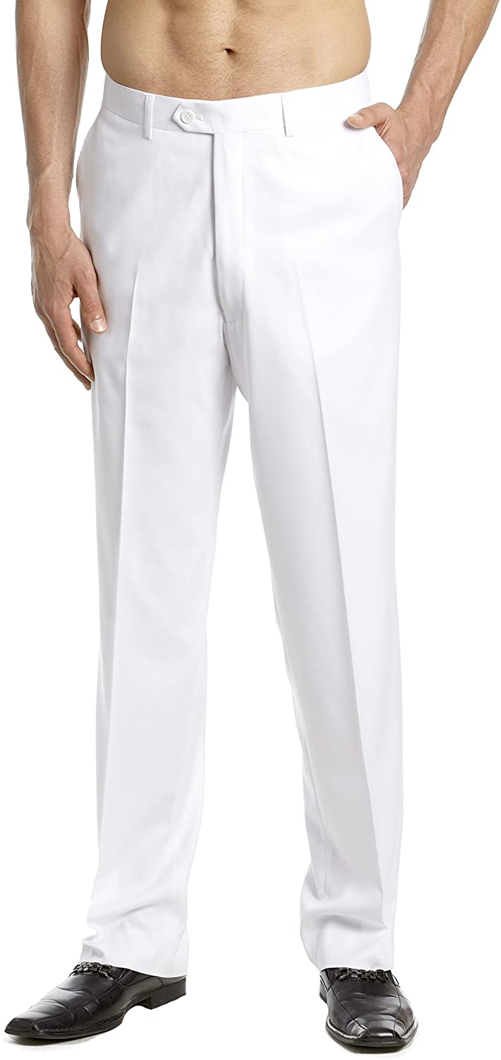 CONCITOR Mens TUXEDO Pants Tux Pant Flat Front Satin Band Solid WHITE Color