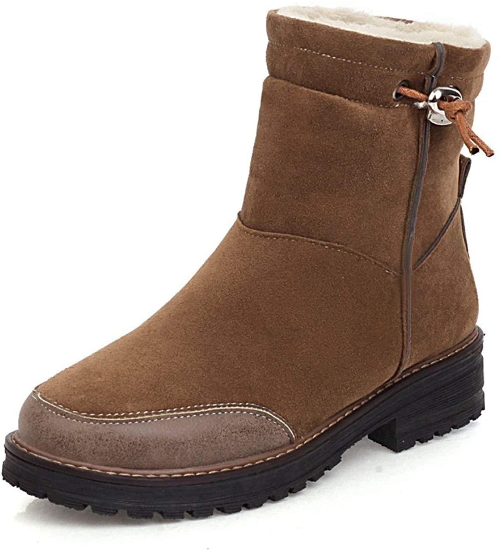 ODOKAY Women's Round Toe Ankle Boots Ladies Adjustable Strap Low Chunky Heel Short Booties Cozy Flexible Walking Booties