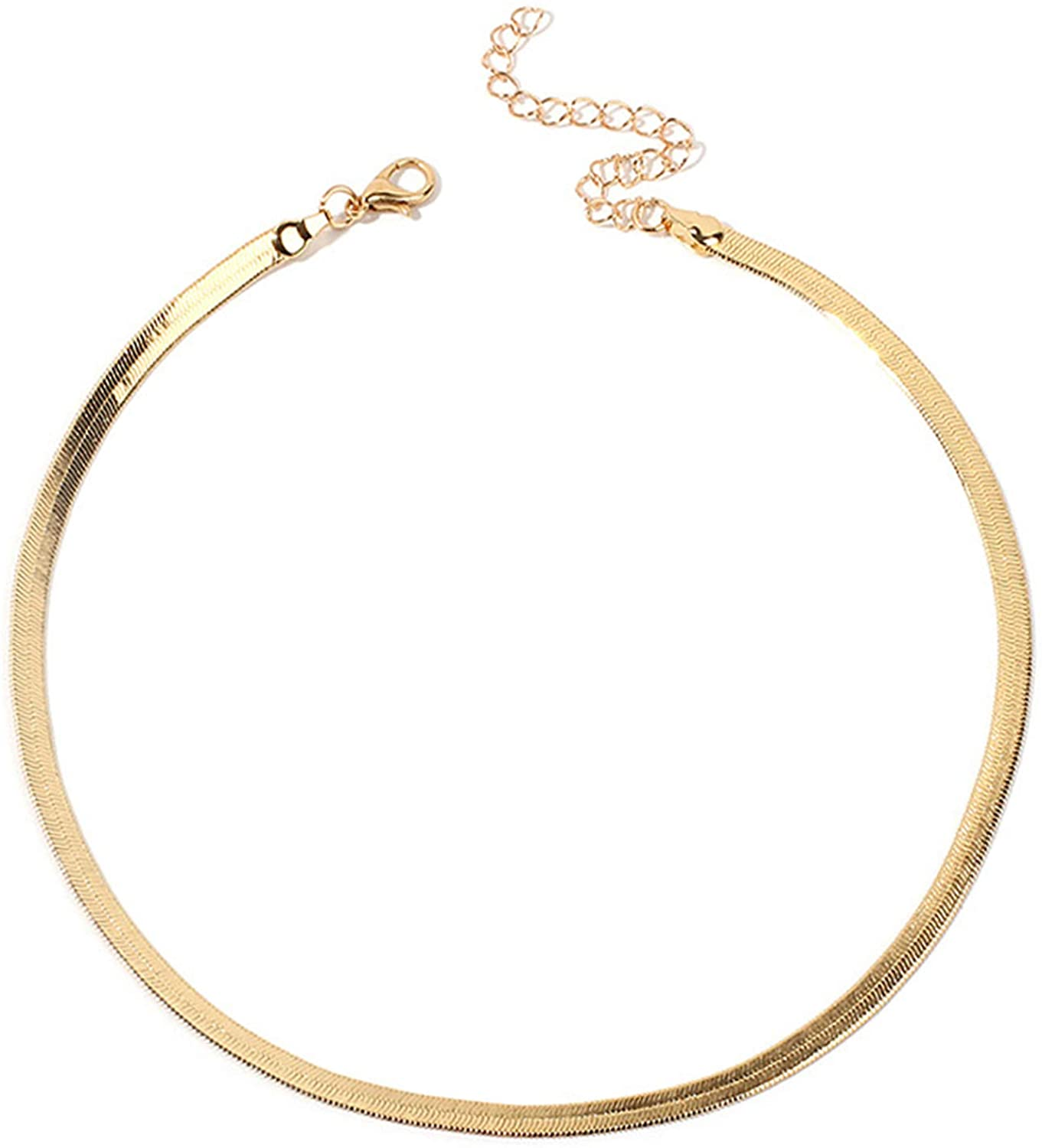 HUASAI 14K Gold Plated Snake Chain Necklace for Women,Adjustable 3MM Flat Snake Calvice Herringbone Chain Choker Necklace Dainty Jewelry Adjustable