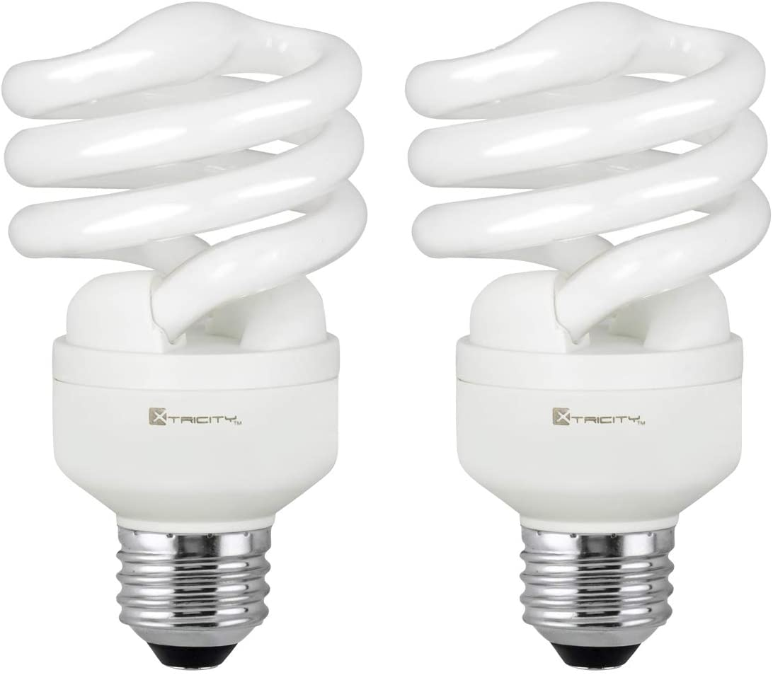 Compact Fluorescent Light Bulb T2 Spiral CFL, 5000k Daylight, 13W (60 Watt Equivalent), 900 Lumens, E26 Medium Base, 120V, UL Listed (Pack of 2)