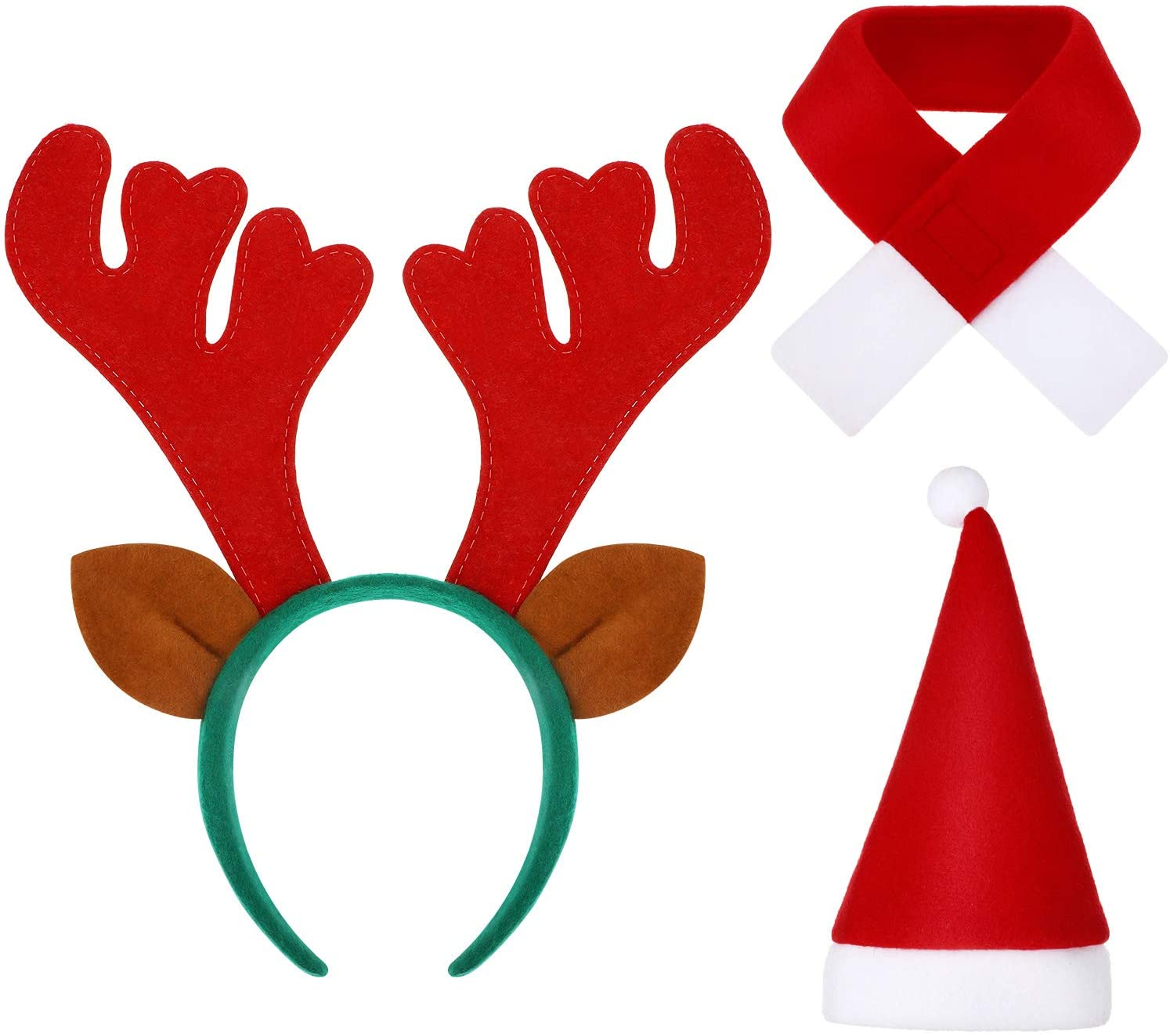 WILLBOND 3 Pieces Christmas Pet Costume Including Reindeer Antlers Headband with Ears Santa Hat and Holiday Scarf for Dog Puppy Cat