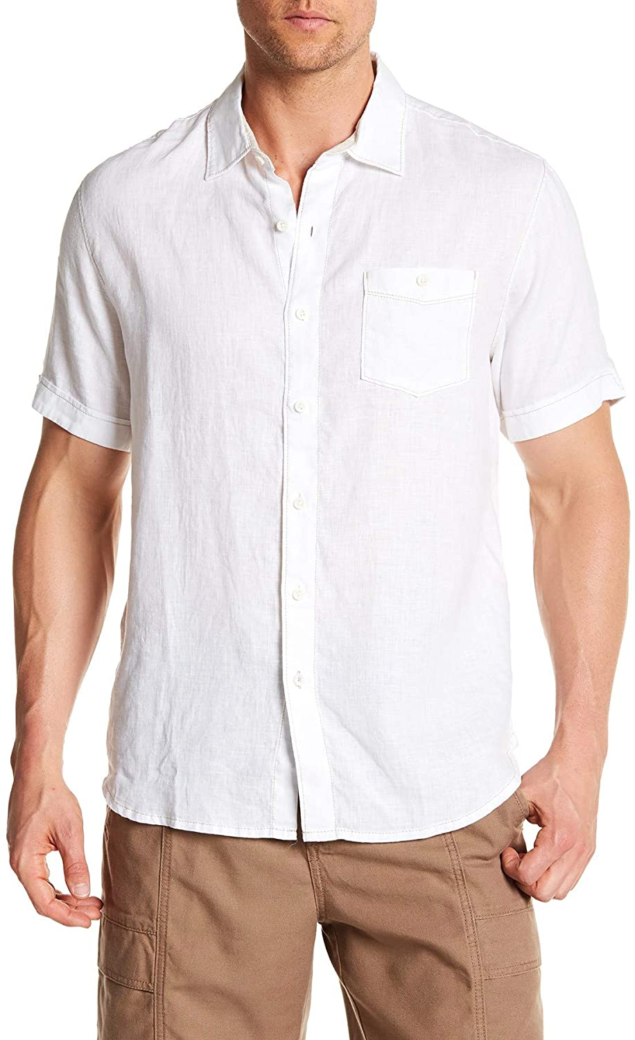 Tommy Bahama Party Breezer Linen Short Sleeve Modern Fit Shirt, White, X-Large