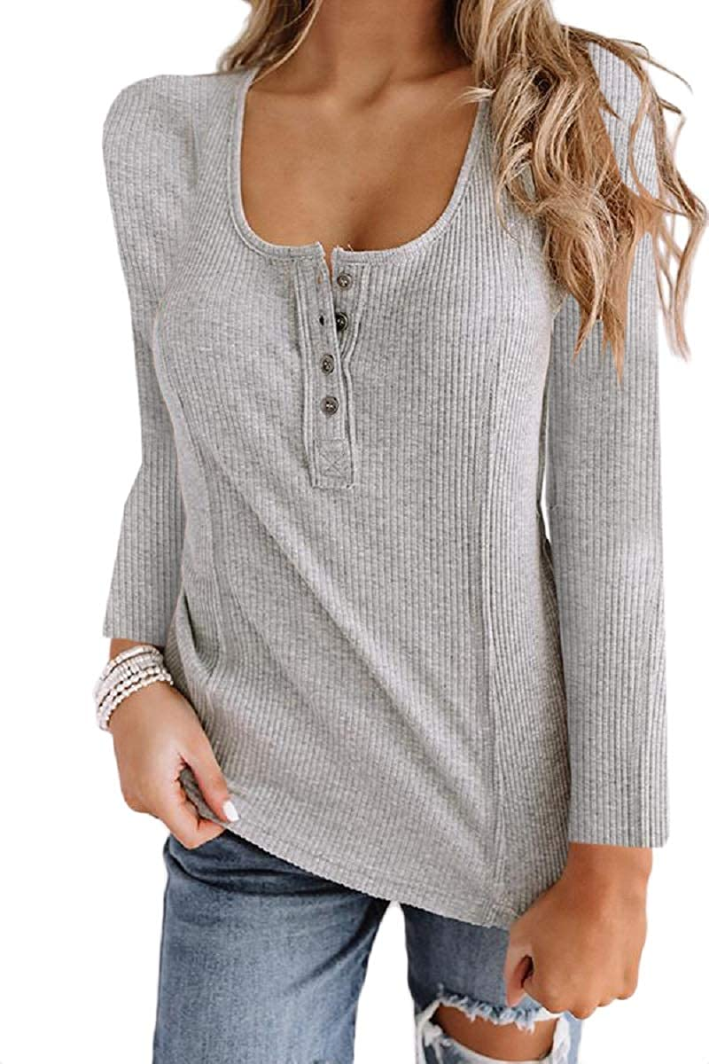 Womens Sexy Scoop Neck Long Sleeve Henley Shirts Button Down Ribbed Knit Pullover Tops