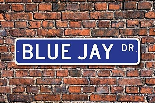 Nat999Lily Home Decorative Sign Blue Jay Sign Decor Blue Jay Expert Bird Feeder Metal Sign for Outdoor Indoor Street Use,4x18