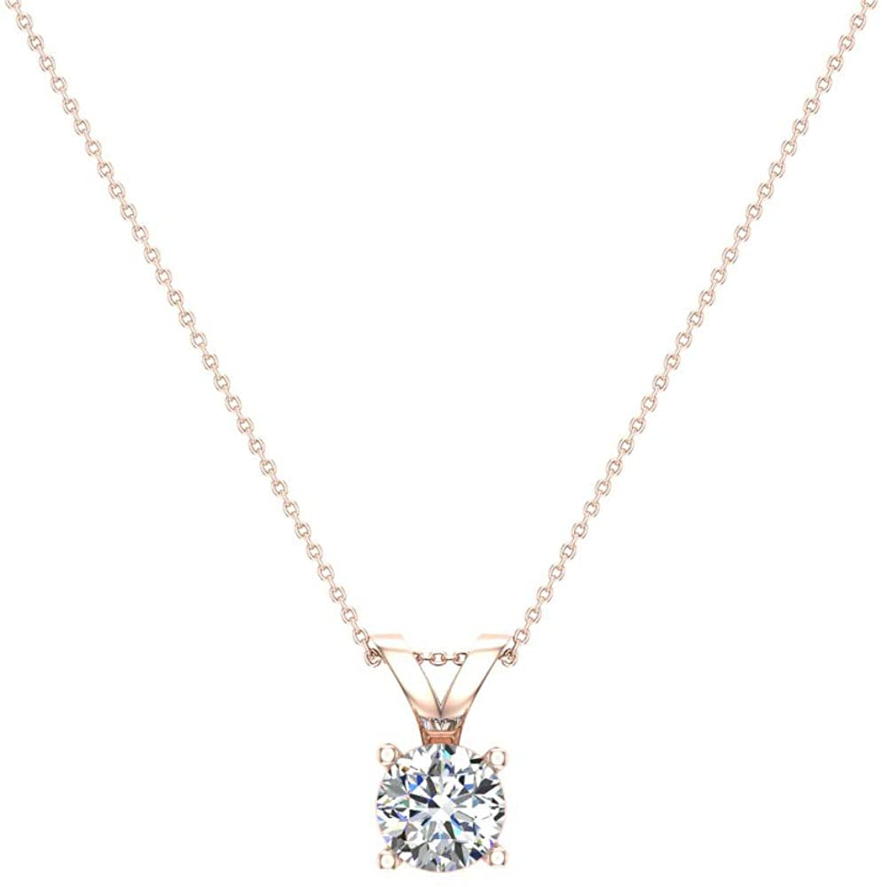 14K Gold Necklace Round Brilliant Solitaire Diamond Pendant (G,VS1) Signature Rare Quality
