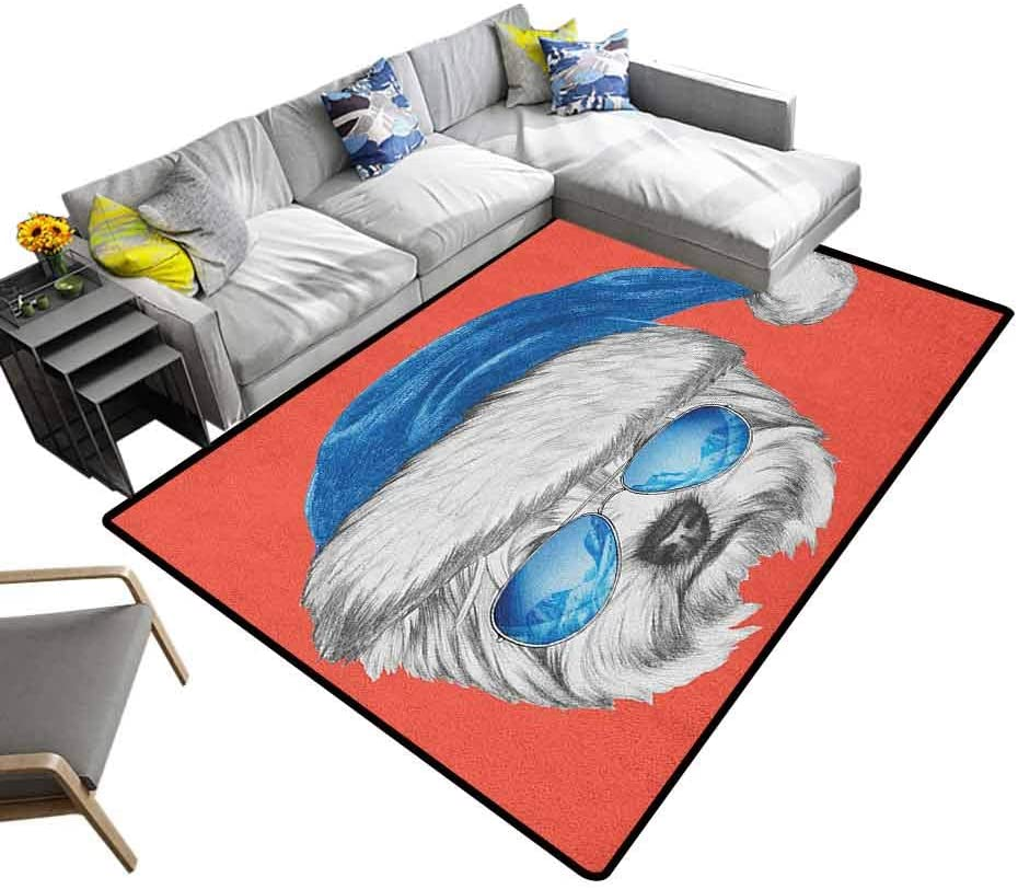 Shag Throw Rug Yorkie, Soft Indoor Modern Area Rugs Terrier with a Blue Santa Hat and Mirror Aviator Glasses Fun Hand Drawn for Living Room, Bedroom, Laundry Room, Entryway White Blue, 5 x 8 Feet