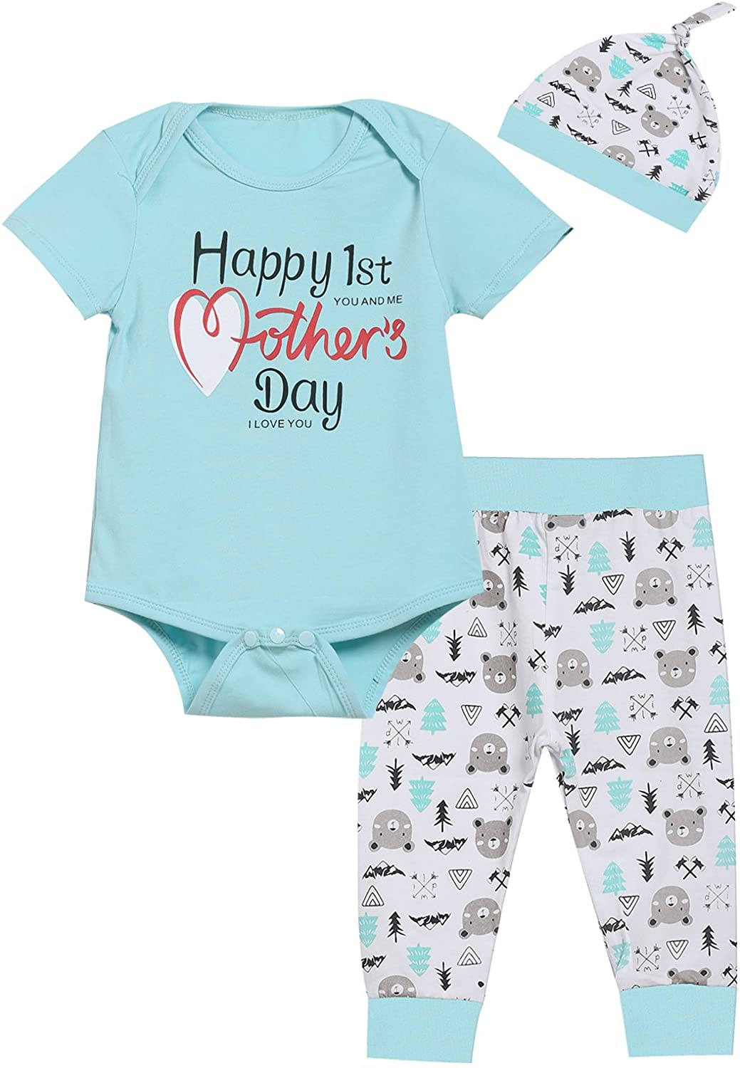 Baby Boys Girls Happy 1st Mothers Day Outfit Set Romper Bear Pants with Hat