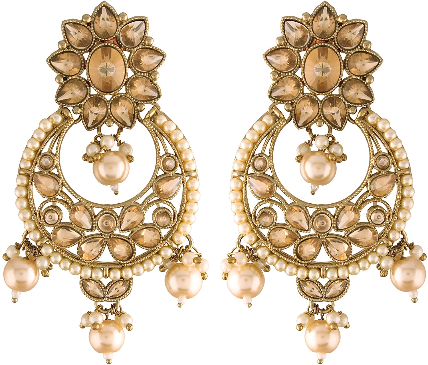 I Jewels 18K Traditional Gold Plated With Stunning Antique Finish Encased with Kundan & Faux Pearl Chandbali Earrings for Women/Girls (E2868FL)