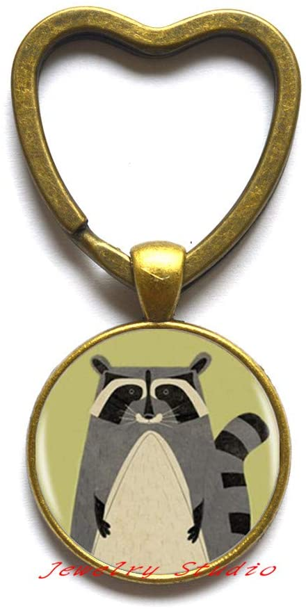 Raccoon Logo Key Ring Keychain Cartoon Animal Raccon Jewelry Handmade Round Keychain Womens Keychain-HZ0316