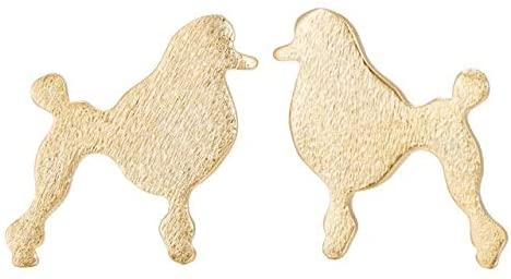 Oly2u New Beautiful Ball Poodle Dog Earrings Animal Female Girls EarrsChildren Toy Poodle Stud Earrings - (Metal Color: ED201G)