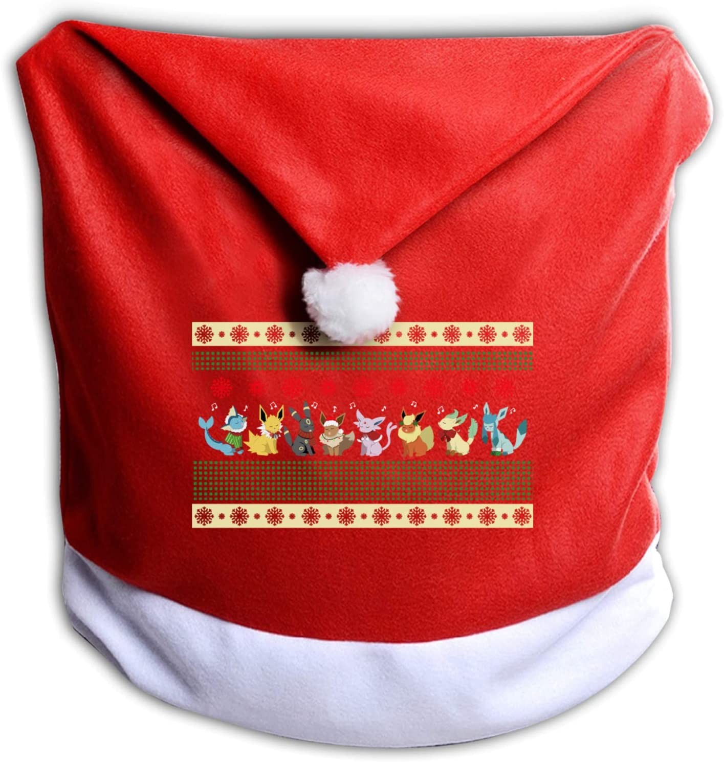 Thomasa Christmas-Eevee Christmas Chair Seat Back Covers Santa Hat Chair Covers for Xmas Holiday Christmas Party Festive Decoration Red