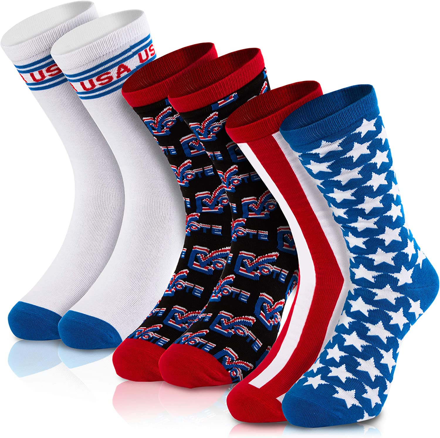Patriotic Crew Socks for Memorial Day, Flag Day, July 4th (Adult Size, 3 Pairs)