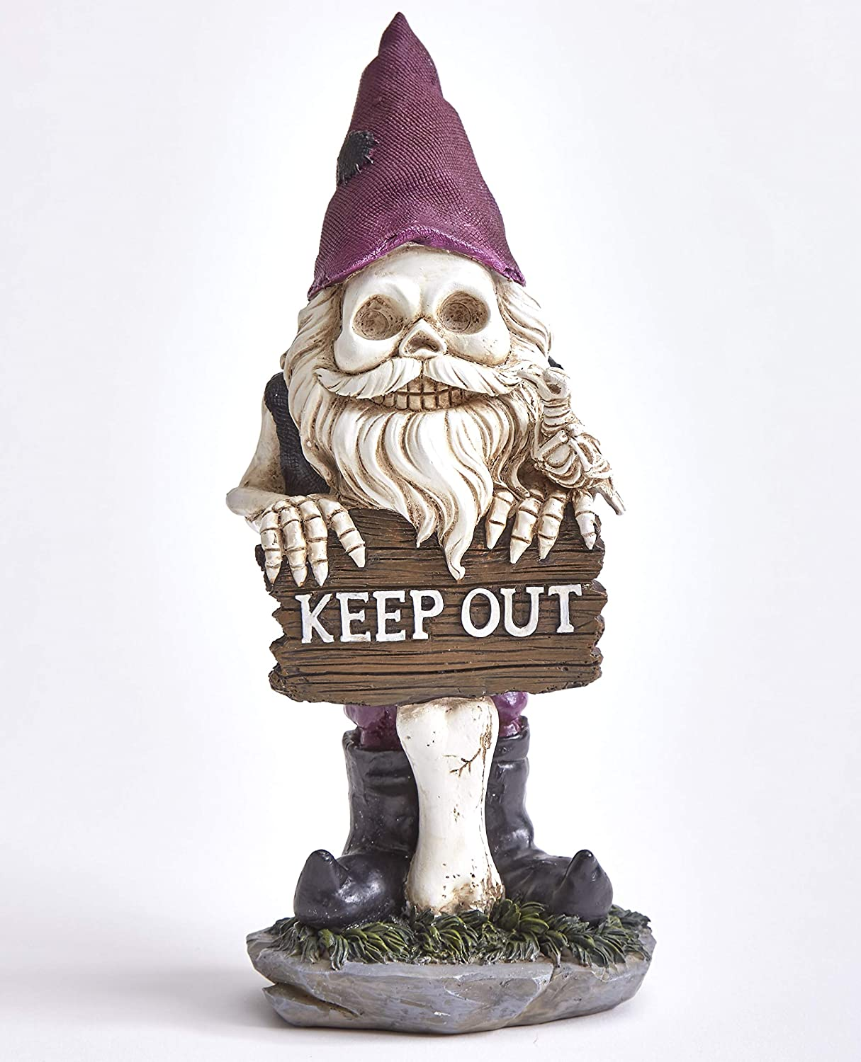 The Lakeside Collection Bearded Garden Skeleton Gnome with Keep Out Sign and Solid Color Hat