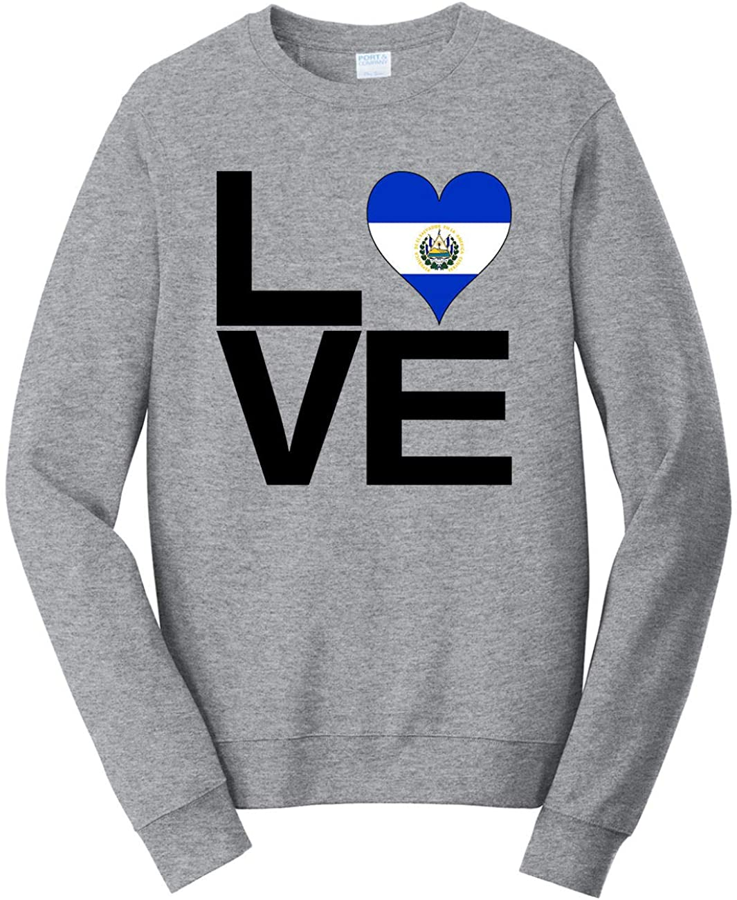 HARD EDGE DESIGN Unisex Love Block El Salvador Heart Sweatshirt, 4X-Large, Heather Grey
